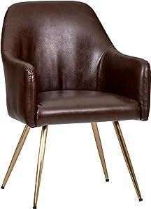 "Amazon Brand – Rivet Modern Leatherette Chair, 24.8""W, Dark Brown"