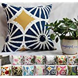"TangDepot 100% Cotton Floral/Flower Printcloth Decorative Throw Pillow Covers /Handmade Pillow Shams, 14 Color and 10 Size options, Light Black, Peach Blossom, Red Rosebush, Red And Green Leaf, White Magnolia, Fantastic Flowers, Chrysanthemum, Peony, Red And Navy Flower, Blue Floral, Pink Floral, Blue Wheel, Red Wheel, Tree Rings, 12"" x 12"", 12"" x 18"", 12"" x 20"", 14"" x 14"", 16"" x 16"", 18"" x 18"", 20"" x 20"", 22"" x 22"", 24"" x 24"" and 26"" x 26"" - (12""x12"", S12 Blue Wheel)"