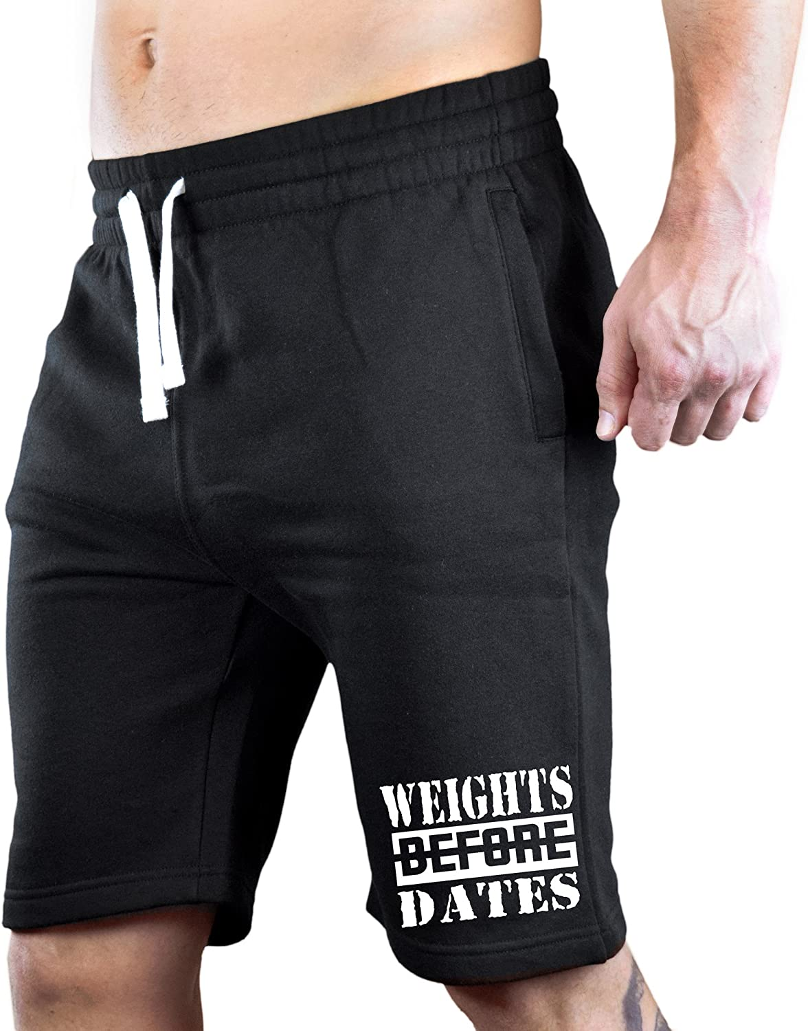 Interstate Apparel Mens Weights Before Dates V406 Black Fleece Jogger Sweatpant Gym Shorts
