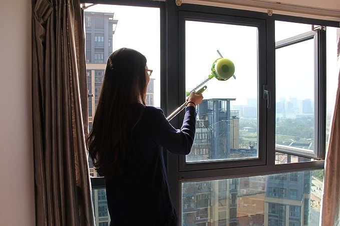 Zuwit Mango Telescópico limpiador de ventanas Limpiacristales Doble-Side Glass Cleaner, para limpieza de cristales,kit de limpieza de ventanas polo en forma ...
