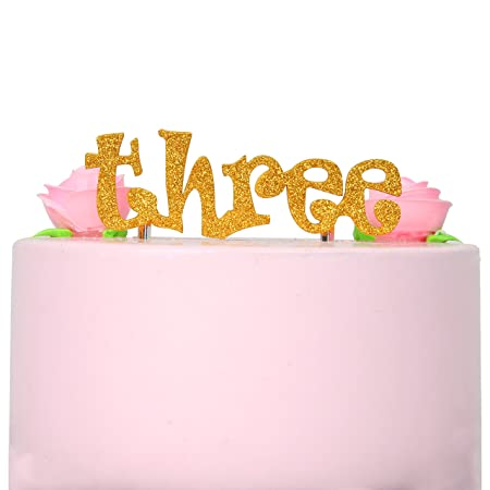 INNORU Three 3rd Birthday Cake Topper Gold Glitter Bunting For Boy And Girl Party