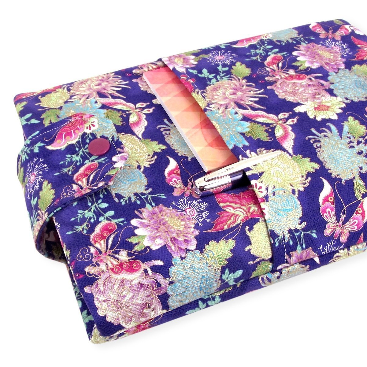 Handmade Fabric Book Sleeve - Perfect For Hardbacks Or Large Paperbacks - Padded, Purple Japanese Butterfly Fabric