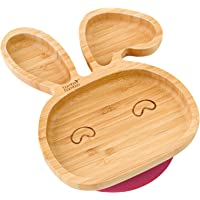 Baby Toddler Bunny Suction Plate, Stay Put Feeding Plate, Natural Bamboo (Cherry)