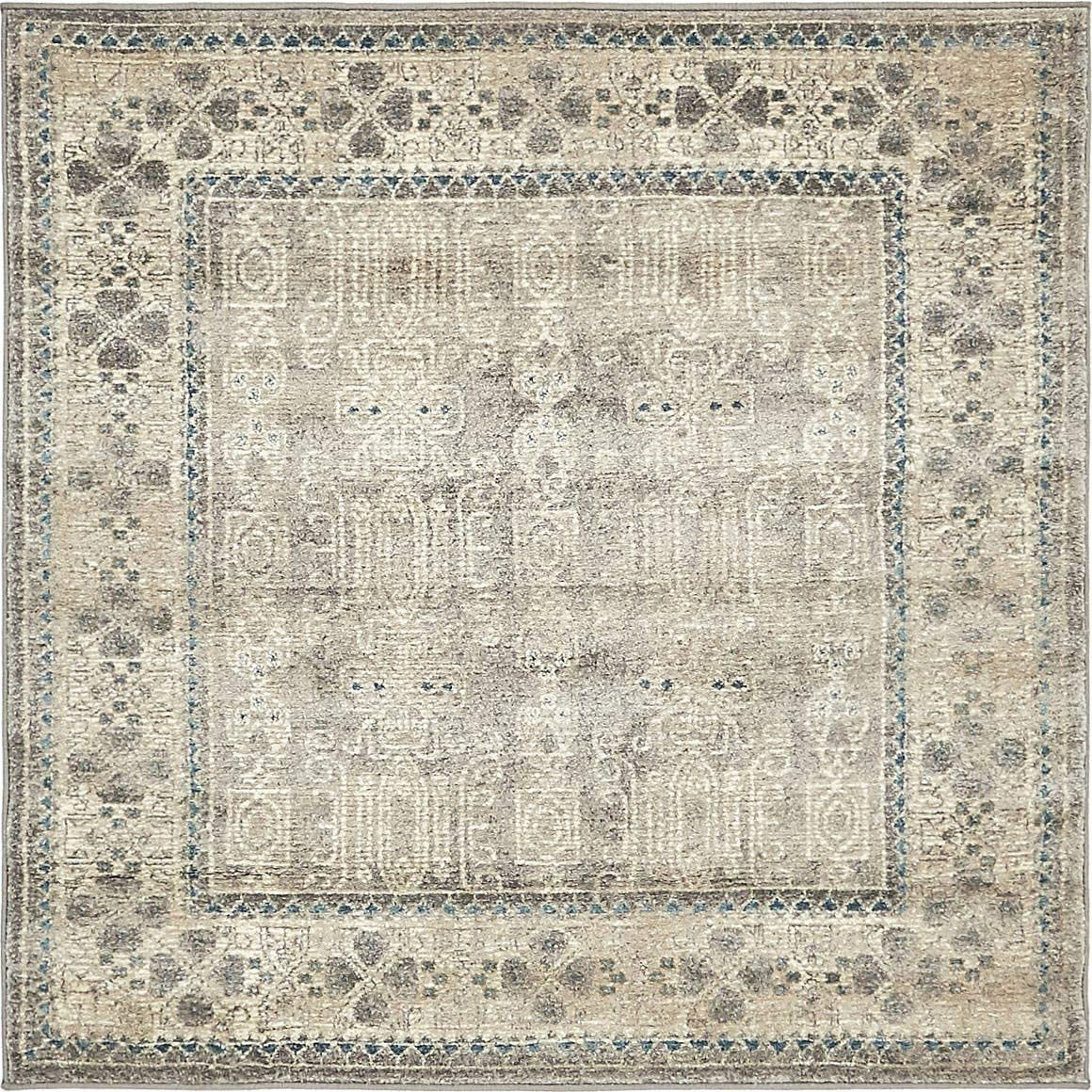 Unique Loom Salzburg Collection Traditional Oriental Gray Square Rug 4 0 x 4 0