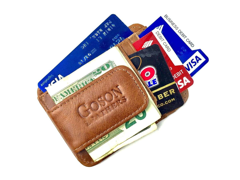 Goson Leather Mens Wallet Leather Money Clip Thin Slim Front Pocket Wallet 910 Black Strong Magnet RFID