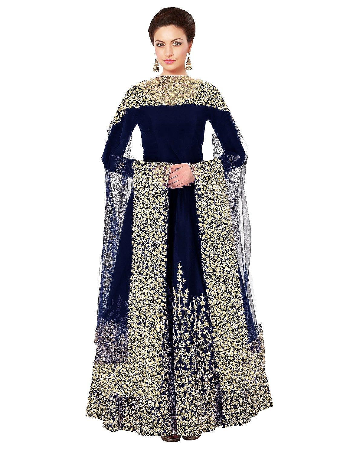 ER10455 F4style New Blue Long Embrodered Semi Stitched Designer Anarkali Suit