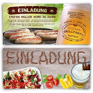Schön Einladungen Zum Geburtstag (30 Stück) Bratwurst Grillen Bier Sommer BBQ  Einladungskarten
