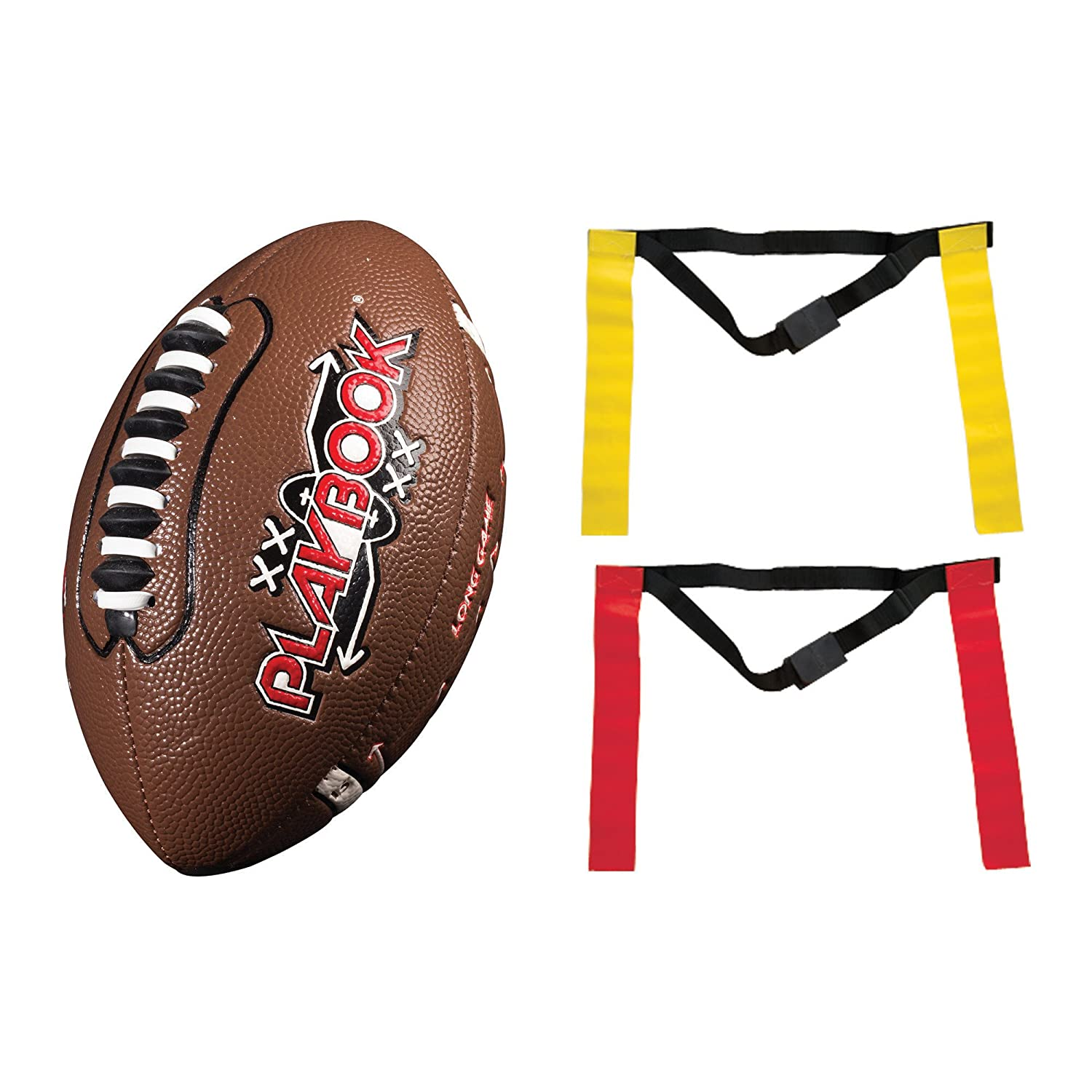 Franklin Sports Flag Football Flags and Ball Set Full Youth Flag Football Set Includes 2 Flag Sets of 5 Flag Football Belts and Football for Kids