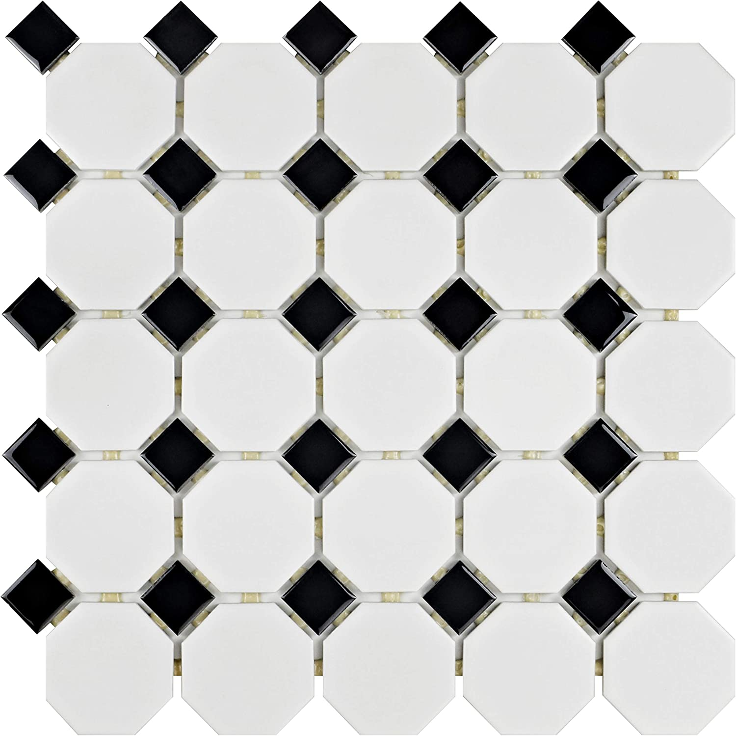 """SomerTile FXLM7OWD Retro Octagon Porcelain Floor and Wall Tile, 7.7"""" x  7.7"""", Matte White with Glossy Black Dot"""