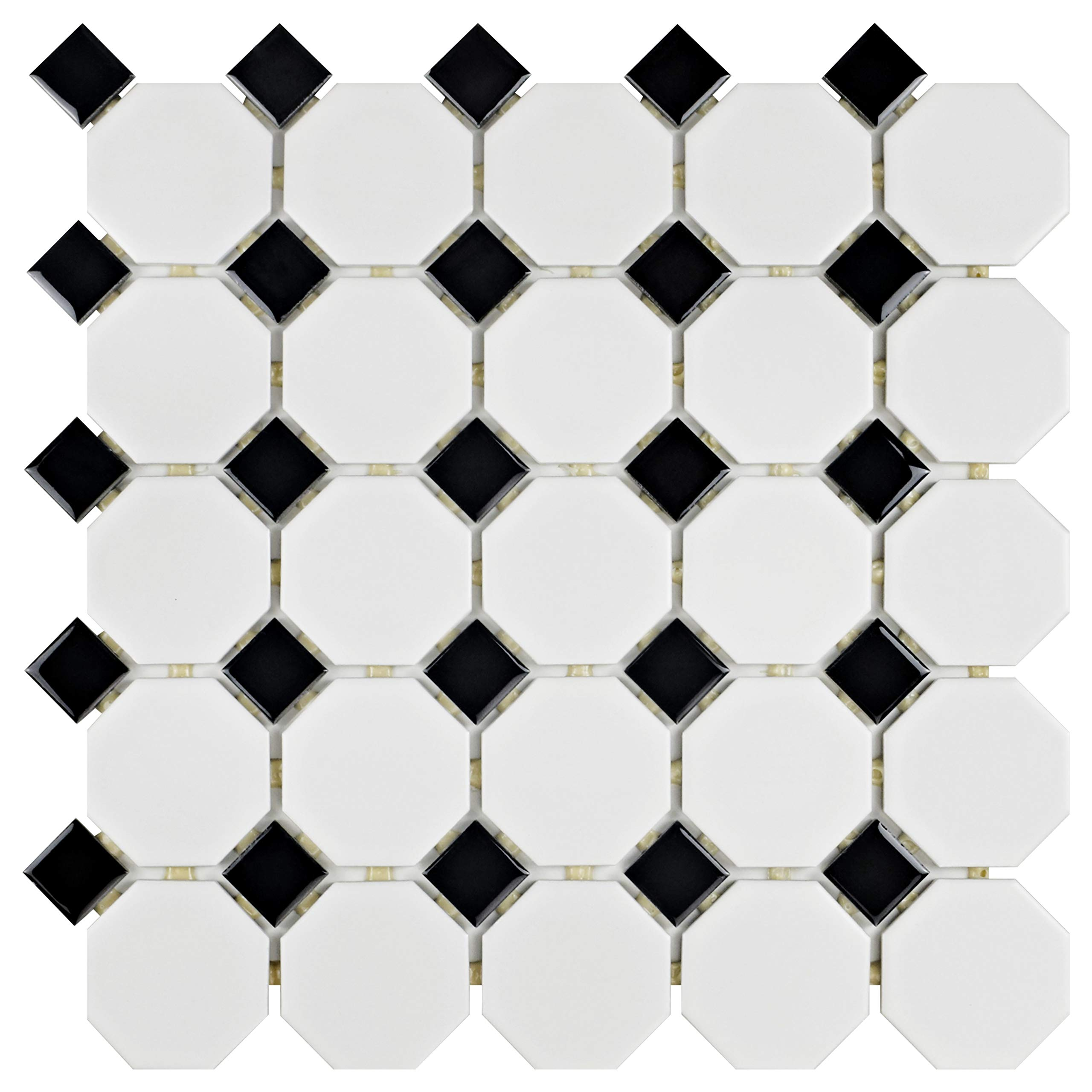 SomerTile FXLM2OWD Retro Octagon Porcelain Floor and Wall Tile, 11.5'' x 11.5'', Matte White with Glossy Black Dot