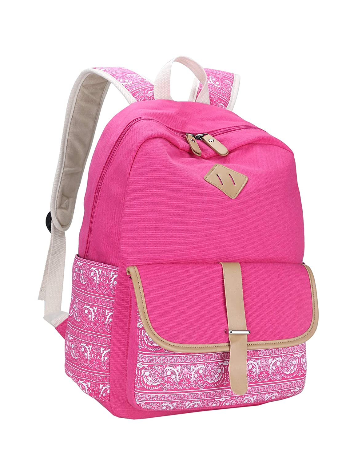 513eb8533a6b Leaper Cute Canvas Backpack for Girls School Bag Travel Daypack Rose 8812