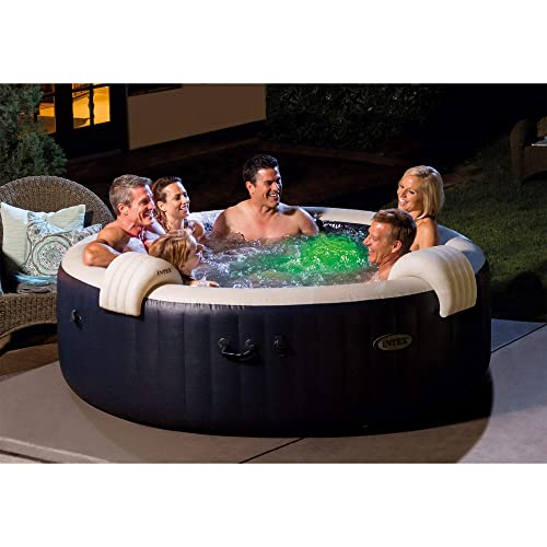 Intex PureSpa Plus Round 6 Person Portable Inflatable Hot Tub Spa 85-Inch x 25-Inch with 170 Bubble Jets and Built in Heater Pump, Navy 28431E
