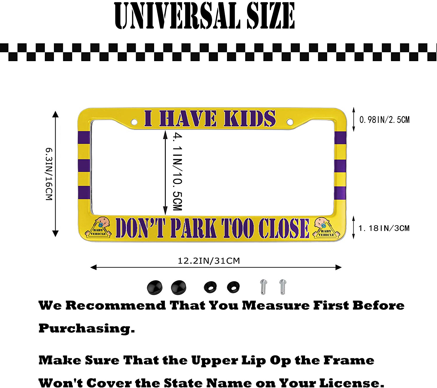 EXMENI Baby in Car License Plate Frame Yellow Safety Signs Waterproof Auto Plates Frames Board Funny Printed with Screws for Mom Dad