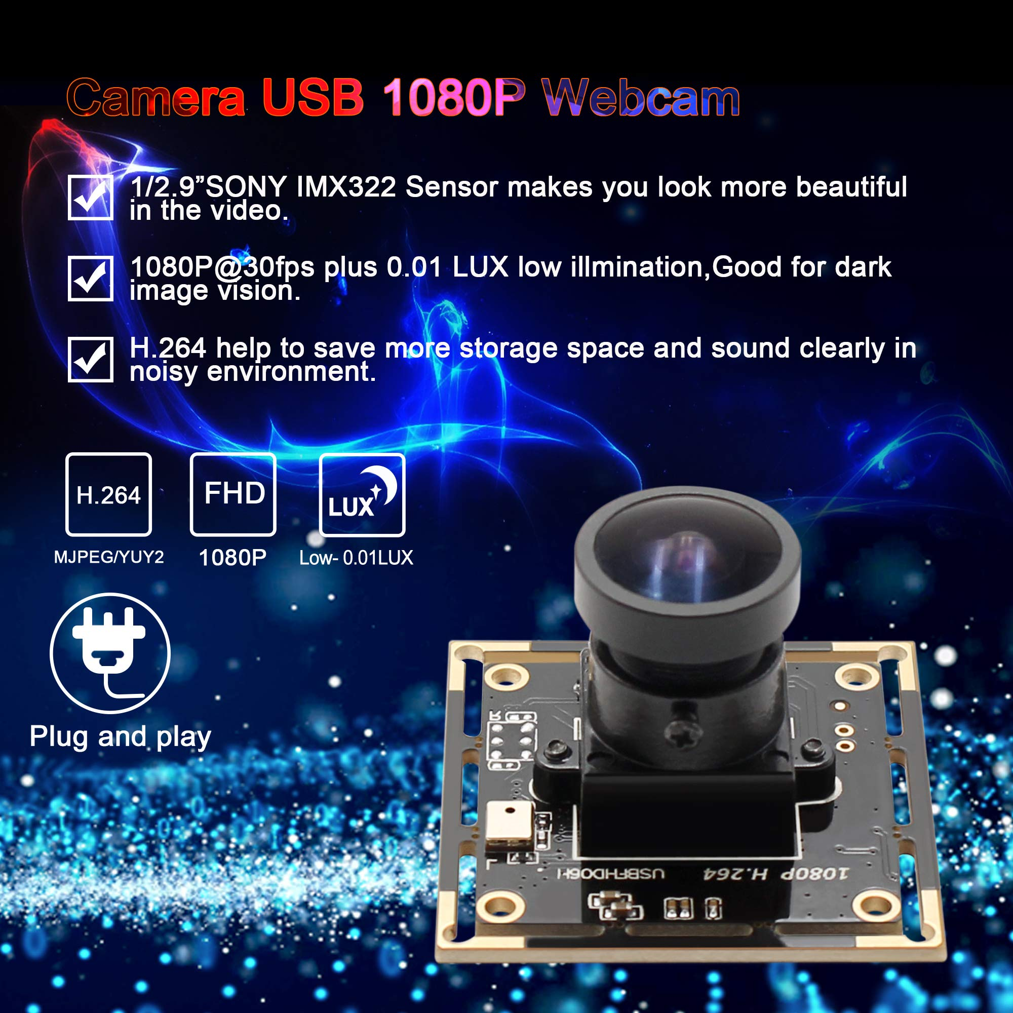 Camera USB 1080P 0.01lux Low Illumination Webcam Sony IMX322 Sensor Webcamera 2MP Fisheye Camera Module USB 170 Degree Fisheye Lens Wide Angle Low Light Video Industrial Camera for Linux/Windows/Mac by Camera USB