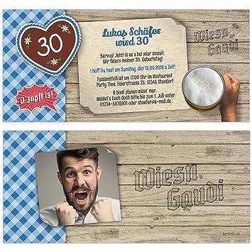 Einladungskarten Bayrisch Geburtstagseinladung Oktoberfest Einladung Mit  Foto, 40 Stk.