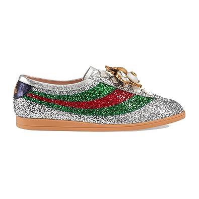 06bb4a36fcc7 Gucci Women's 494608Kspc08165 Silver Glitter Sneakers: Amazon.co.uk: Shoes  & Bags