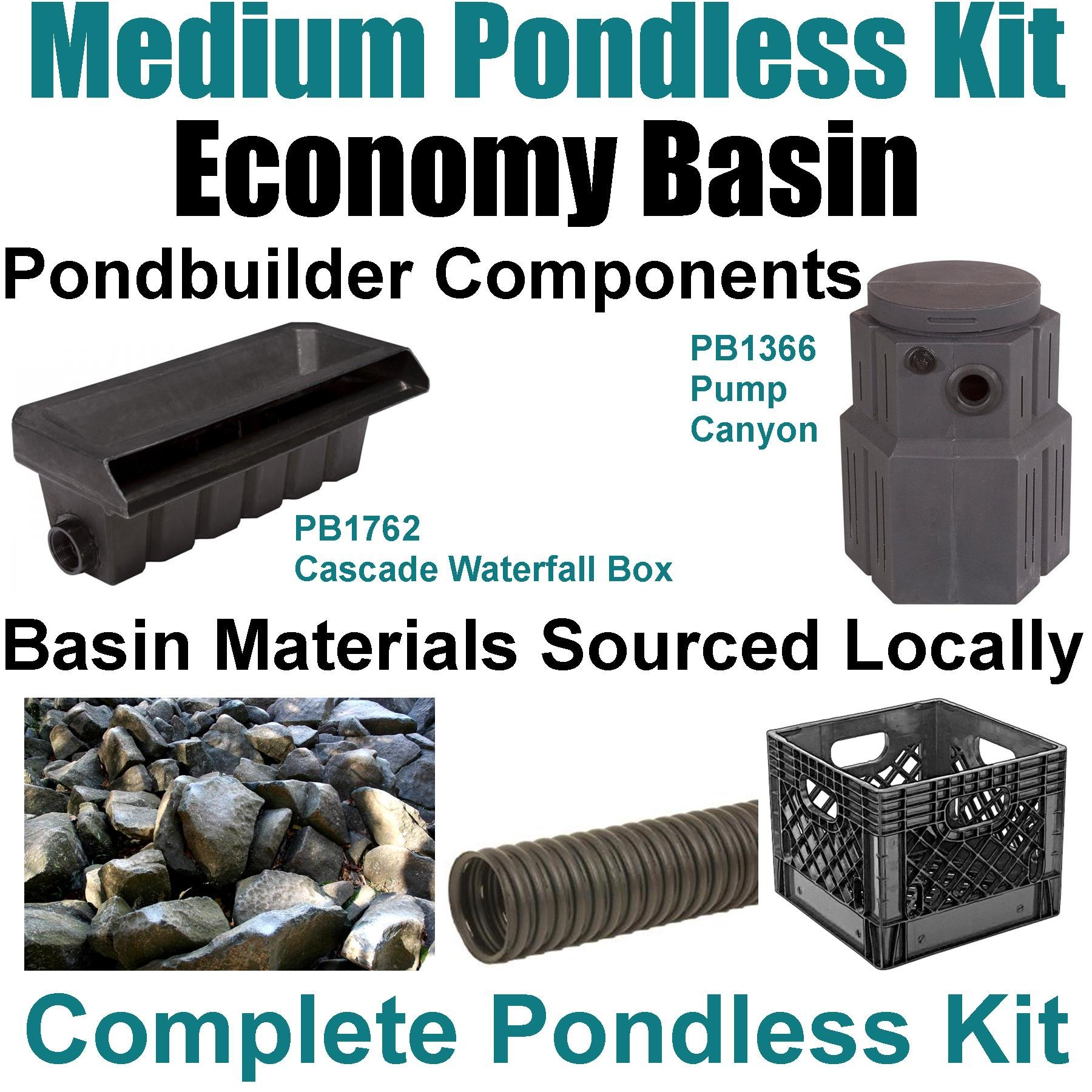 10' x 20' Medium Pondless Waterfall Kit, Economy Basin Kit - Includes Pondbuilder Waterfall Box & Pump Canyon, 4,100 GPH Pump - PMDP8