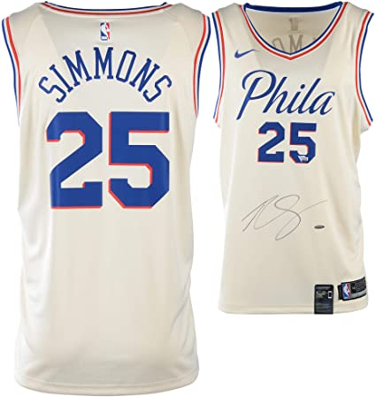 half off 8f746 6ac08 Ben Simmons Philadelphia 76ers Autographed Nike White City ...