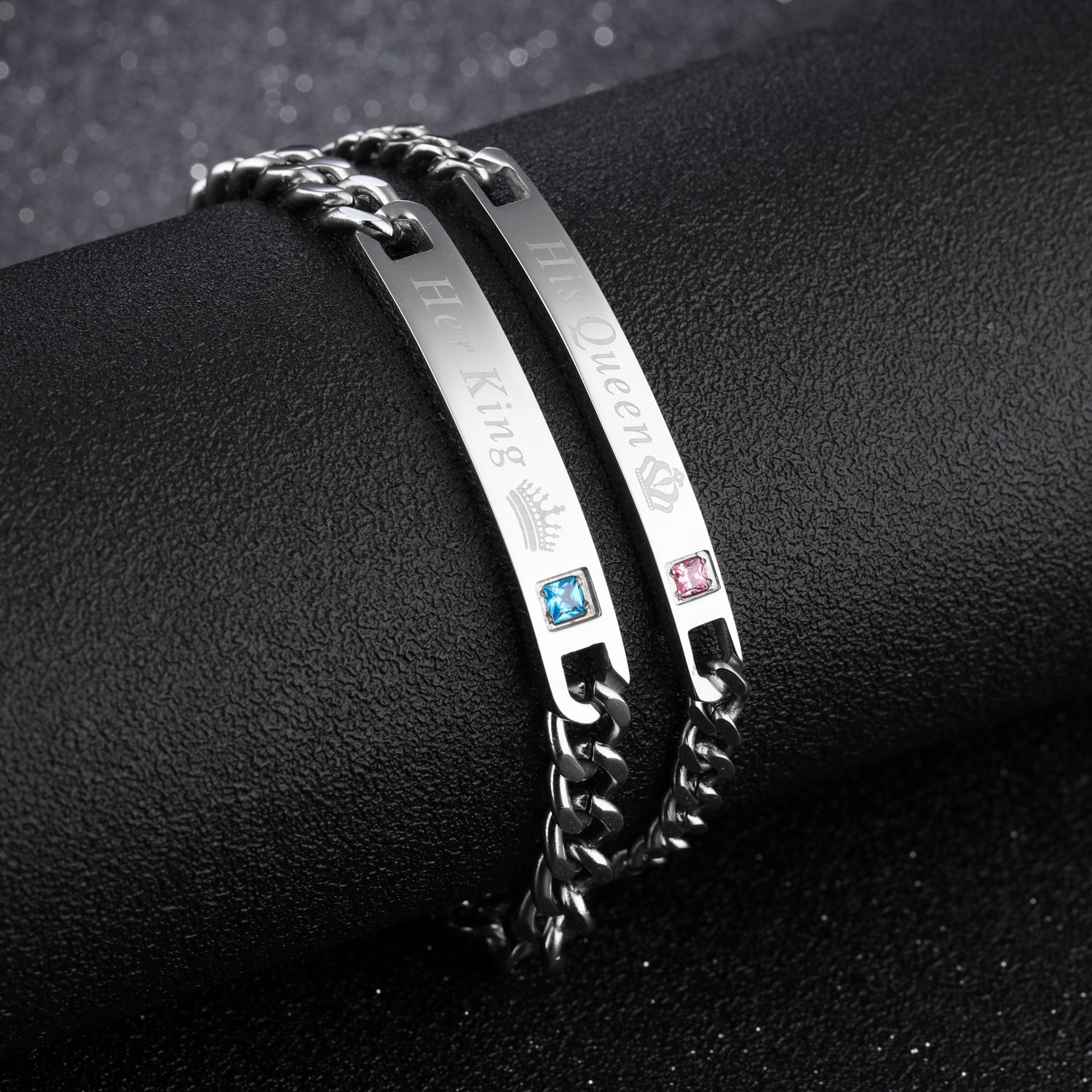 Lary Jewelry Couples Bracelets His Queen Her King Bracelets Lovers Stainless Steel Jewelry Gift Set