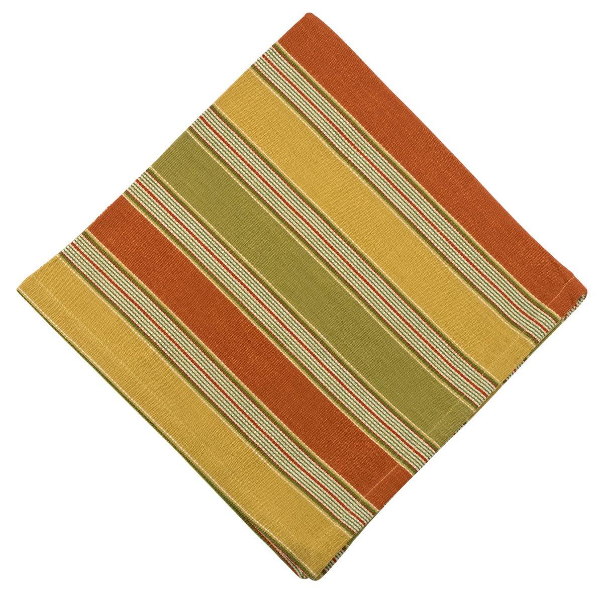 100% Cotton Yellow Rust & Green Stripe 22''x22'' Napkins, Set of 6 - Equinox