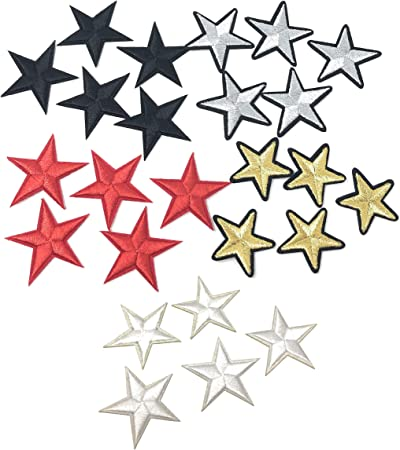"white star patches 2/"" star white iron on appliques  25 piece lot 25 stars"