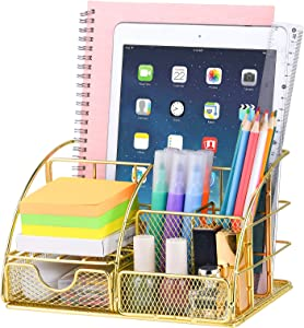 Desk Organizer for Women,Cute Mesh Office Supplies Accessories Essentials Caddy with 5 Compartments+1 Mini Sliding Drawer for Home & Office Desktop Organization & Decor,Gold