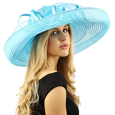 bf4ef068c28a3 Stunning Simamay Spiral Bow Floral Kentucky Derby Floppy 7 quot  Brim Dress  Hat Turquoise