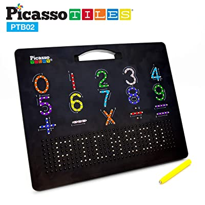 PicassoTiles 2-in-1 Double Sided Magnetic Drawing Board ABC A-Z Letter, Number, and Freestyle Writing Playboard 12x10 inch Large Magnet Tablet Pad Open-Ended Learning Erasable Reusable Playset PTB02: Toys & Games