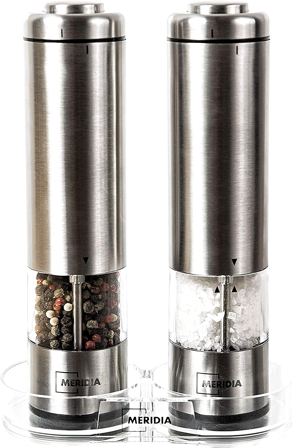 Meridia Electric Salt and Pepper Grinder Set - Battery Operated Kitchen Mills (Batteries Included) - Stainless Steel Peppermills with Light and Adjustable Coarseness