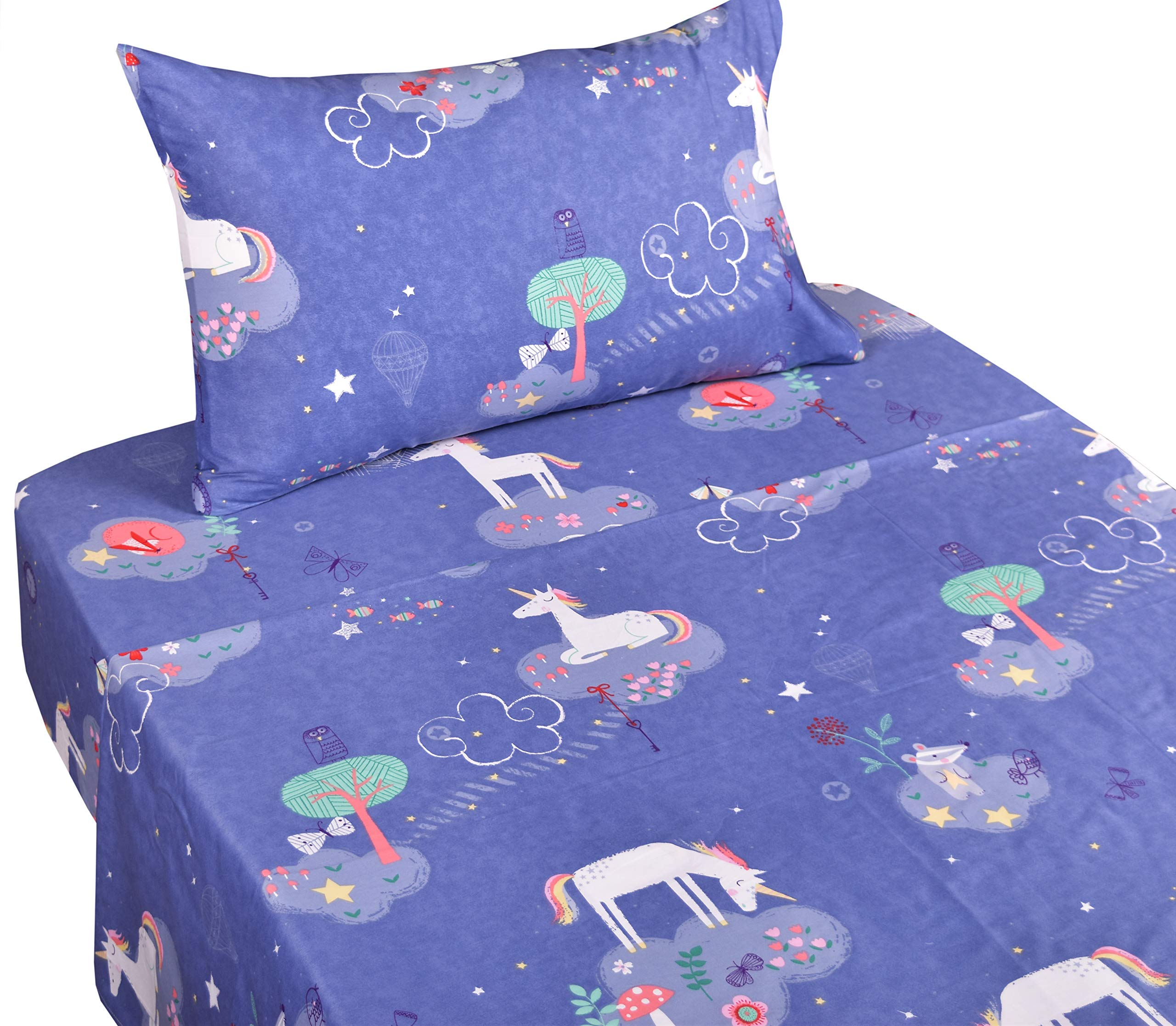 J-pinno Unicorn Dreaming Playing Twin Sheet Set for Kids Girl Children,100% Cotton, Flat Sheet + Fitted Sheet + Pillowcase Bedding Set