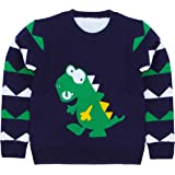 La Vogue Kids Boys Cute Dinosaur Warm Winter Sweater Knitwear Long Sleeve Fur Lined Thermal Pullover Jumpers Sweatershirt