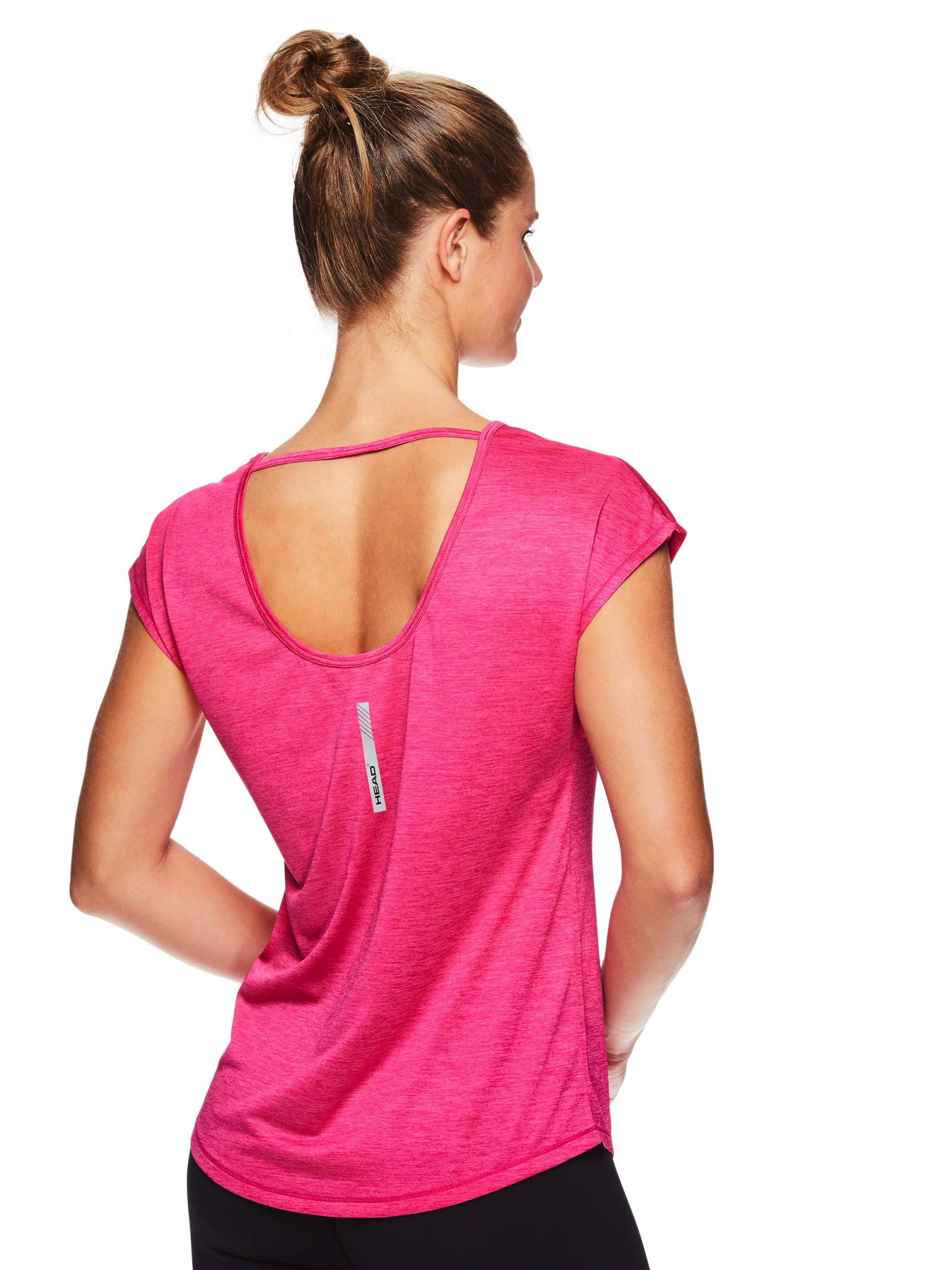 HEAD Women's Open Back Short Sleeve Workout T Shirt - Performance Scoop Neck Activewear Top - Pink Peacock Heather, X-Small