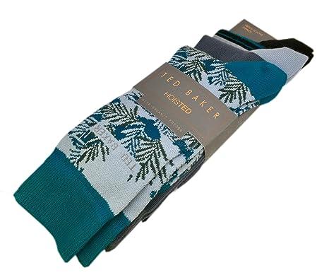 02325f12680 TED BAKER London Hoisted Mens Organic Cotton   Beyri quot  Socks Green Grey  Black Leaves