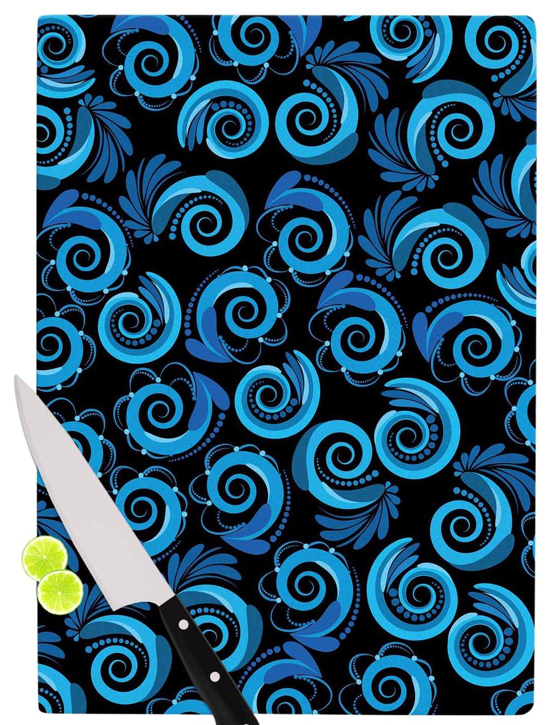 KESS InHouse Maria BazarovaBlue Waves Black Aqua Cutting Board 11.5 x 15.75 Multicolor