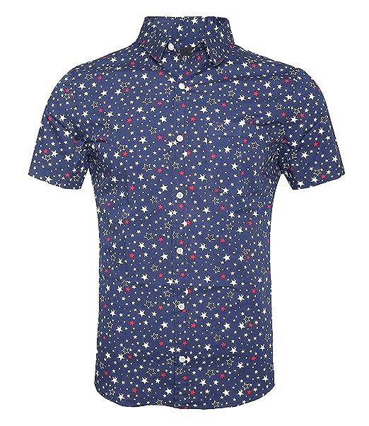 SOOPO Camisa Hombre Shirt de Manga Corta Estampados de Estrellas de Colores para Hombre, Camiseta Bonita y Cómoda para Verano, Diversos Colores y Tallas: ...
