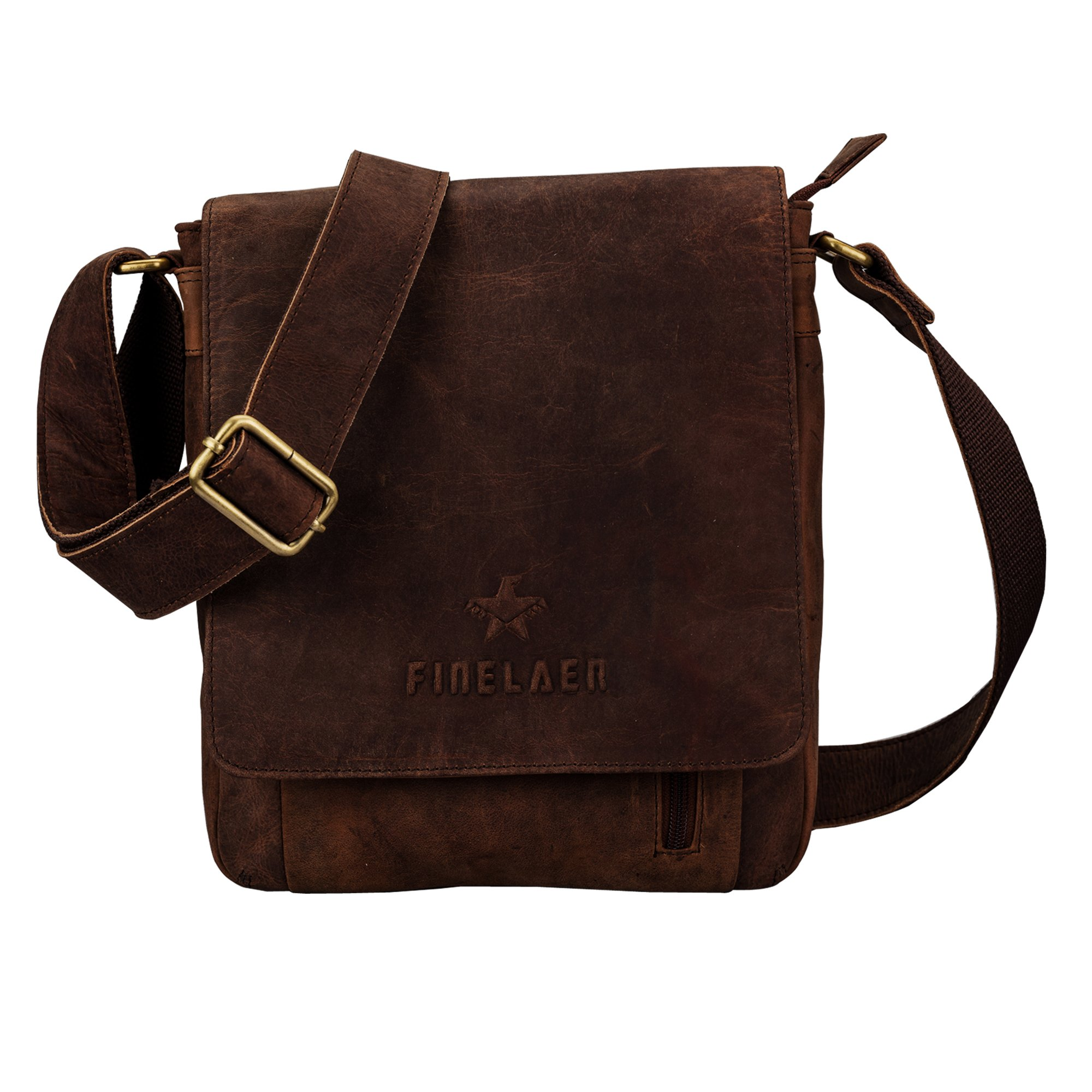 Finelaer Leather Crossbody Bag Purse Tote Shoulder Messenger Bag Bgs for Men Women Brown