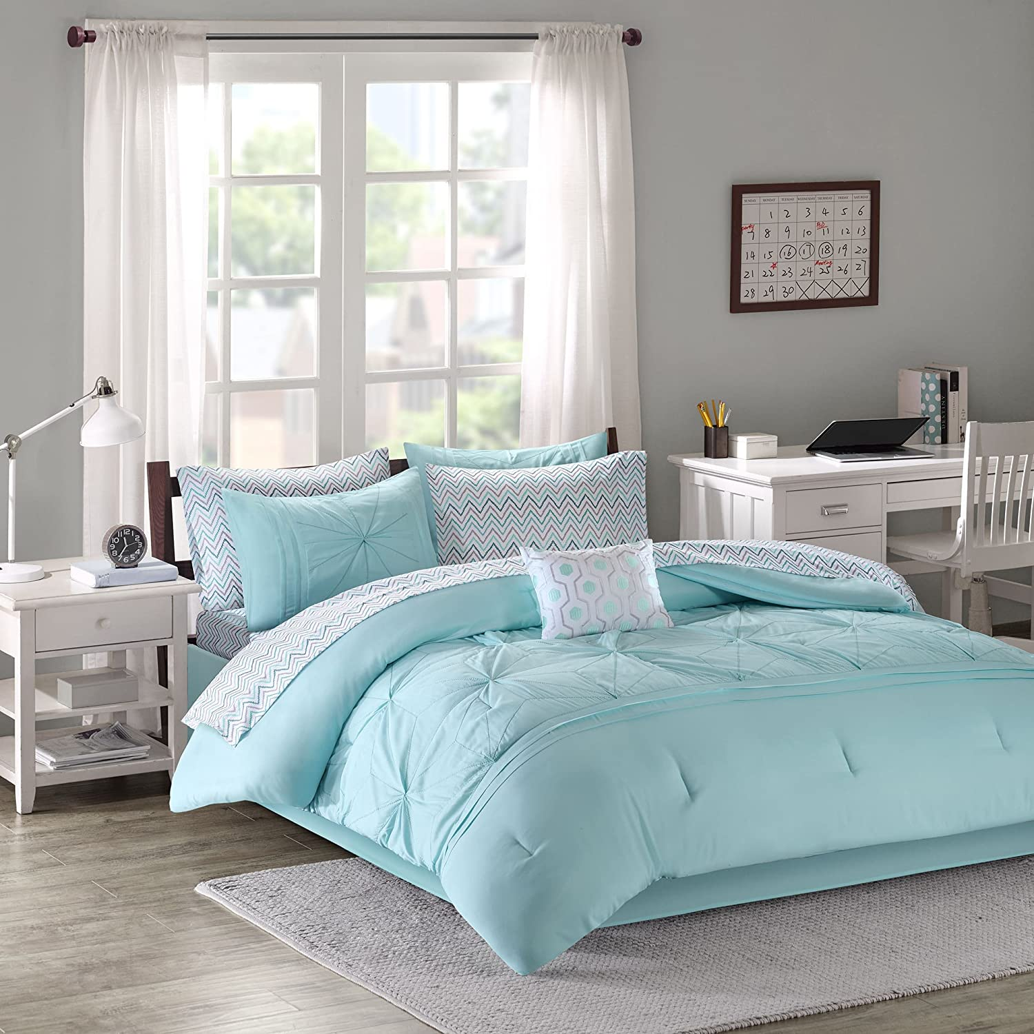 Comforter Sets For Teen Girls Twin Full Queen Kids Bedding Aqua Light Blue  Gray Bed In A Bag Perfect For Home Bedrooms or Dorm Rooms Bundle Includes  ...