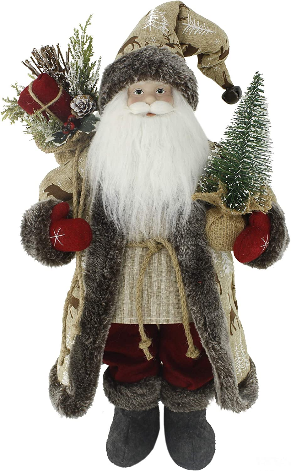"""Windy Hill Collection Woodland Reindeer with Red Mittens 18"""" Inch Santa Claus Standing Figurine Figure Decoration 180037"""
