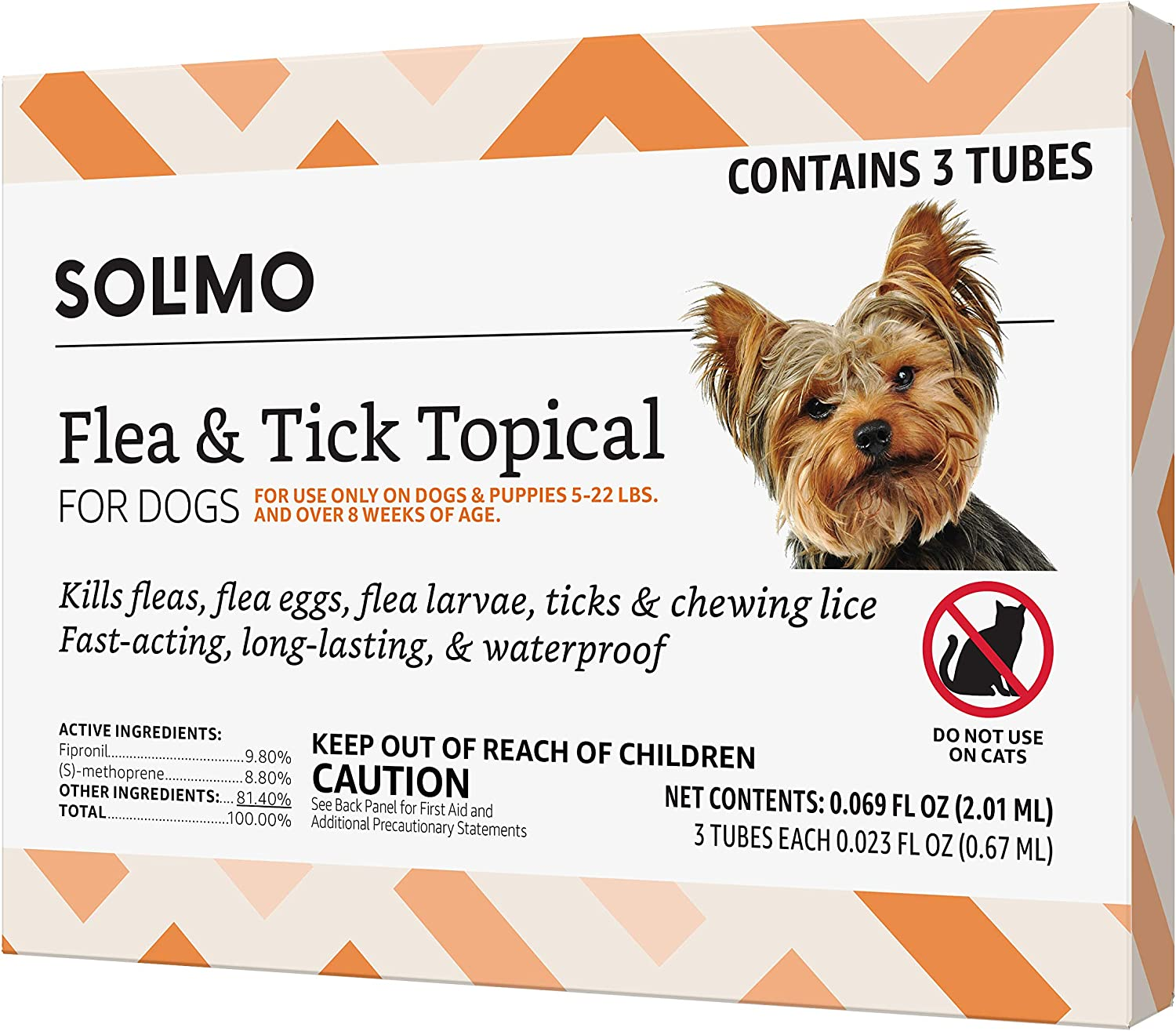 Amazon Brand - Solimo Flea and Tick Topical Treatment for Dogs, For Small Dogs (5-22 pounds)