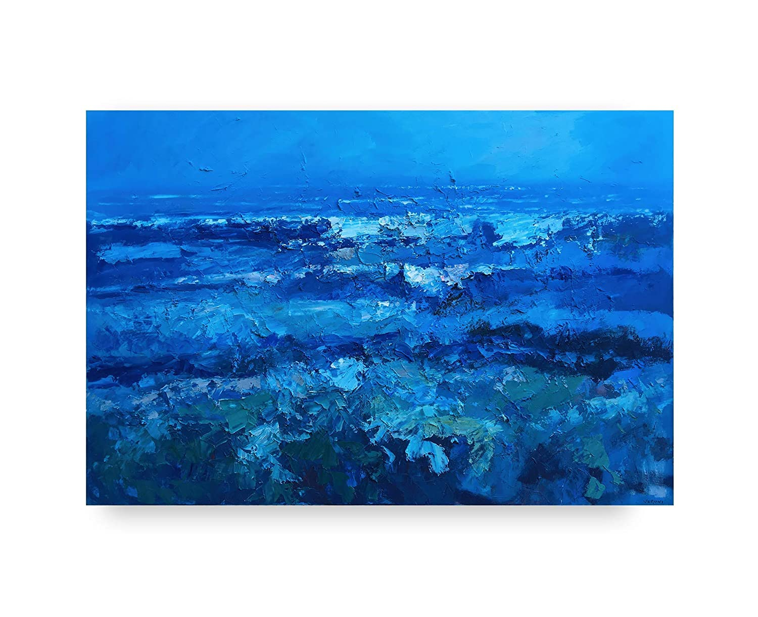 """Canvas Wall Art Blue Abstract Seascape Painting Large Size Picture Print,40/""""x20/"""""""