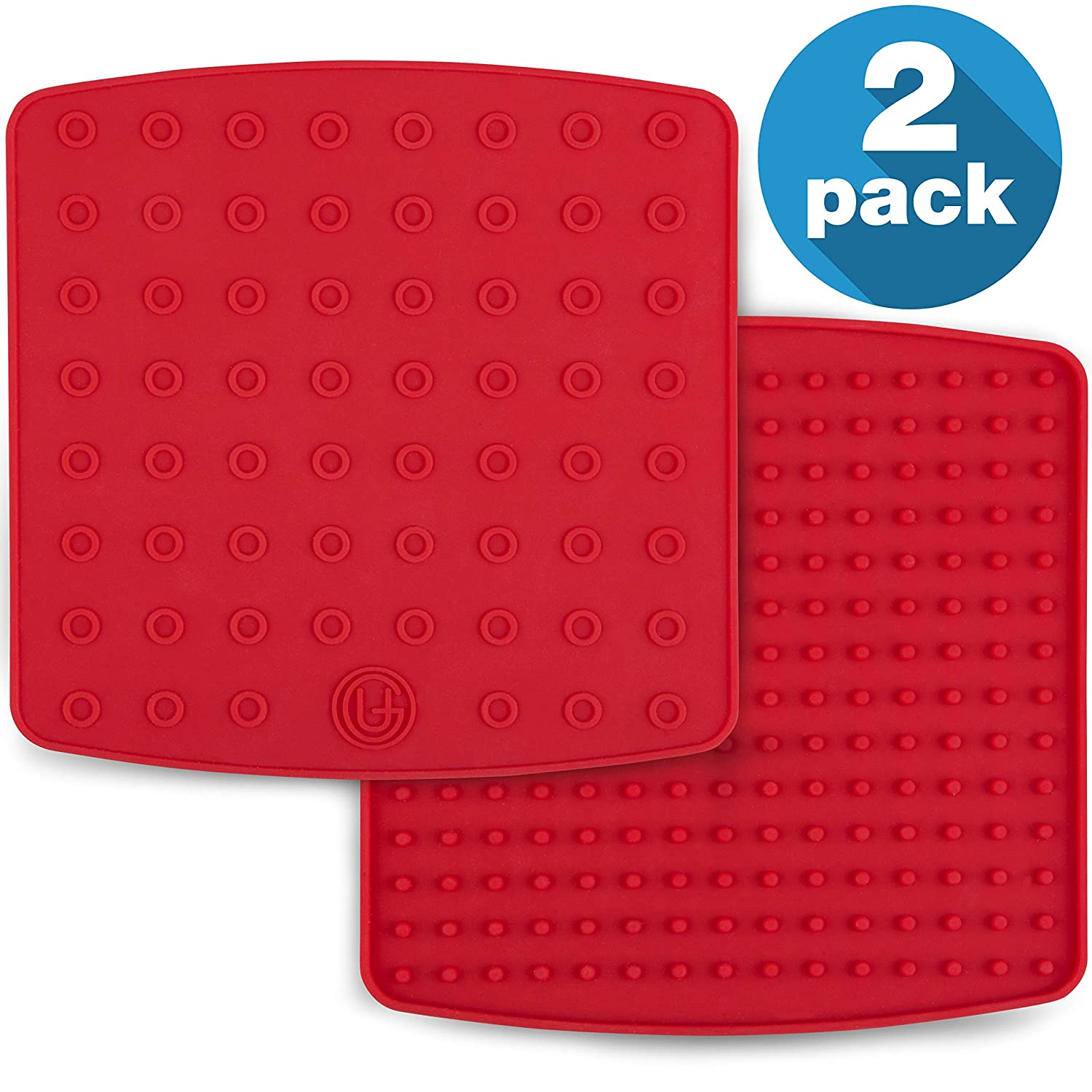 Premium Silicone Pot Holder for Pots/Pans | Multipurpose Trivets | Hot Pad, Spoon Rest, Coaster and More | 2 Pads | Featuring Heat Resistant Core Tech | UpGood Pro Series (Cool Kitchen Tools, Red)