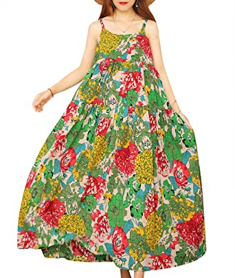 a9bcee40aa YESNO Women Casual Loose Bohemian Floral Print Empire Waist Spaghetti Strap  Long Maxi Summer Beach Swing Dress XS-5X E75 at Amazon Women's Clothing  store: