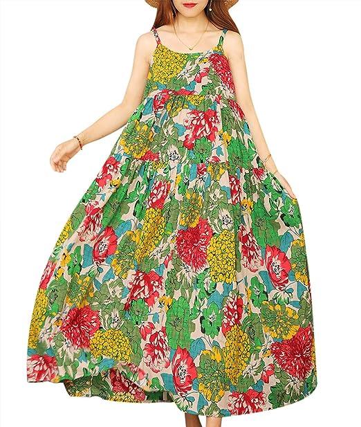 YESNO Women Casual Loose Bohemian Floral Print Empire Waist