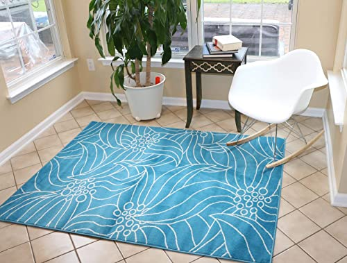 Feraghan New City New Floral City Contemporary Modern Area Rug, 7 x 10 , Light Blue White