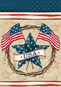 Patriotic Star - Garden Size, 12 Inch X 18 Inch, Decorative Double Sided Licensed, Trademarked and Copyrighted Flag Printed IN USA by Custom Decor Inc.