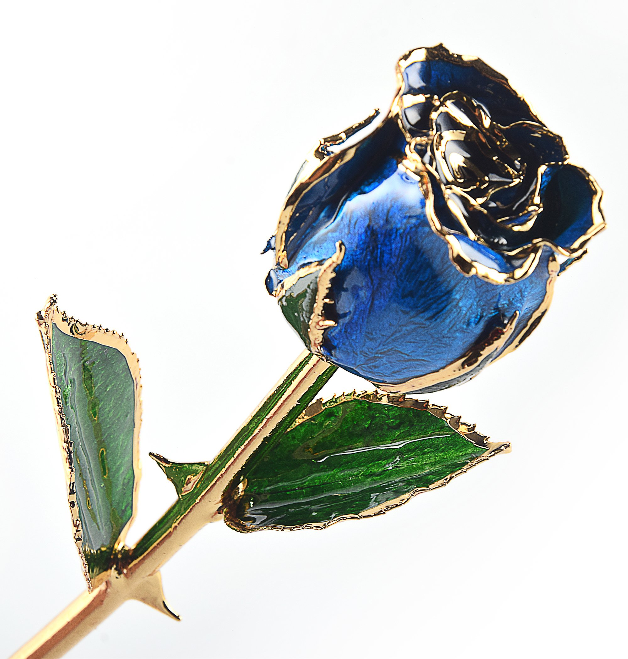 M Dream Long Stem Trimmed 24K Real Rose Dipped in Gold Blue 11 Inches Set of 1,Best Gift for Her, Women, Girlfriends, Wife, Girl, Valentine's Day, Mother's Day, Anniversary, Birthday, Wedding by M Dream