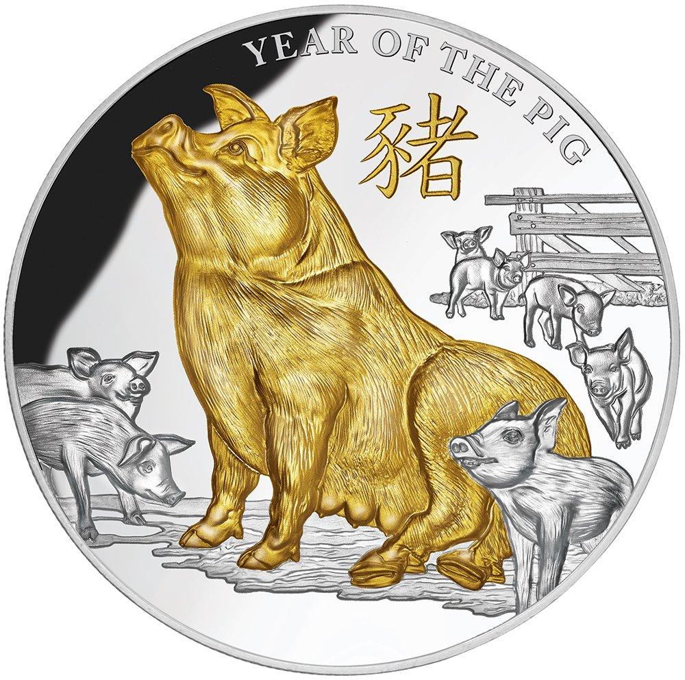 Power Coin Year of The Pig Jahr Schwein 5 oz Silber Münze 8 Niue 2019
