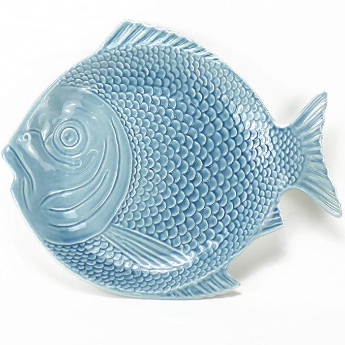 Plato Pez - Pescado Azul - 27 x 24 cm - Céramica Artesanal - Hecho en Portugal: Amazon.es: Hogar