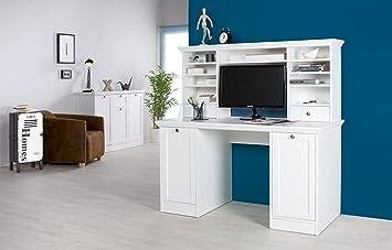 Tex Massiv Möbel Schreibtisch Bürotisch Natura Mit Aufsatz Landhausstil  Weiss 136x137,5x63cm