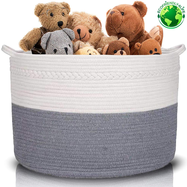 XXXLarge Cotton Rope Basket | Wide 22'' x 22'' x 14'' | 100% Cotton | Woven Storage Basket Extra Large Storage Bin Large Blanket Basket Laundry Hamper Basket Toy Storage Basket (by ECOFRIENDLY4LIFE) by ECOFRIENDLY4LIFE
